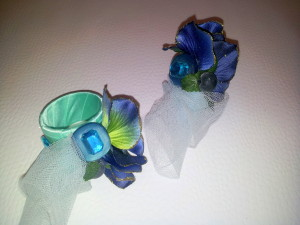 Serviettenringe blau-grün / napkin rings blue-green