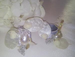Serviettenringe grau-weiß / napkin rings grey-white