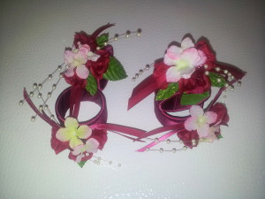 Serviettenringe / napkin rings pink-purple
