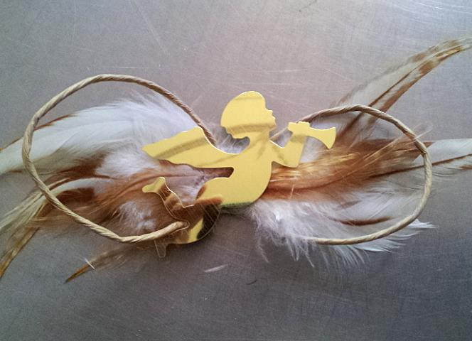 Papierschleife m.Goldfolienengel / paper bow with gold foil angel