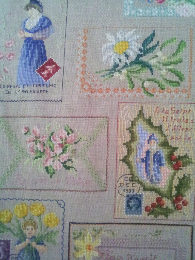 riesiger / huge sampler `Antique Postcards´ still in Progress (Detail)