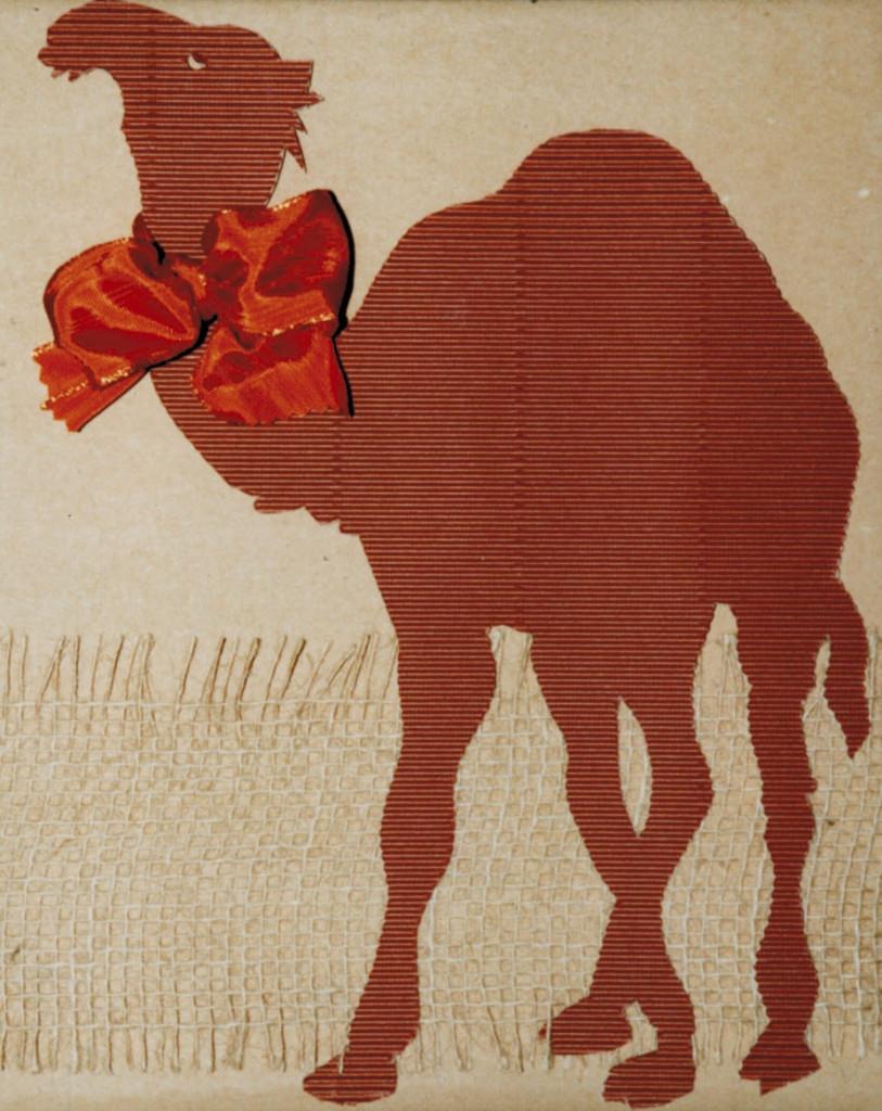 coruggated cardboard camel, small bow, burlap