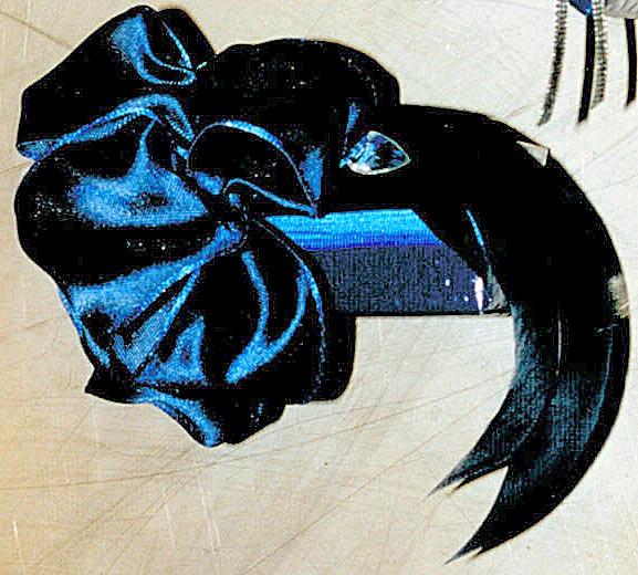 box under sparkling blue satin bow & tear drop rhinestone,  long feathers  PIN BLOG