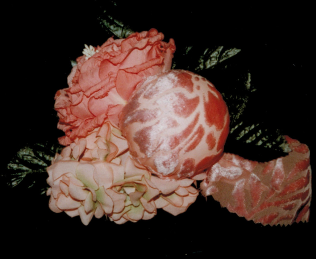 rd.black box with design of large paper rose, silk spring flowers & a velvet-chiffon covered ball 2  PIN