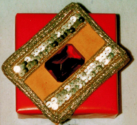 small box under cardboard with sequins, gold.cord & rhinestone  PIN BLOG