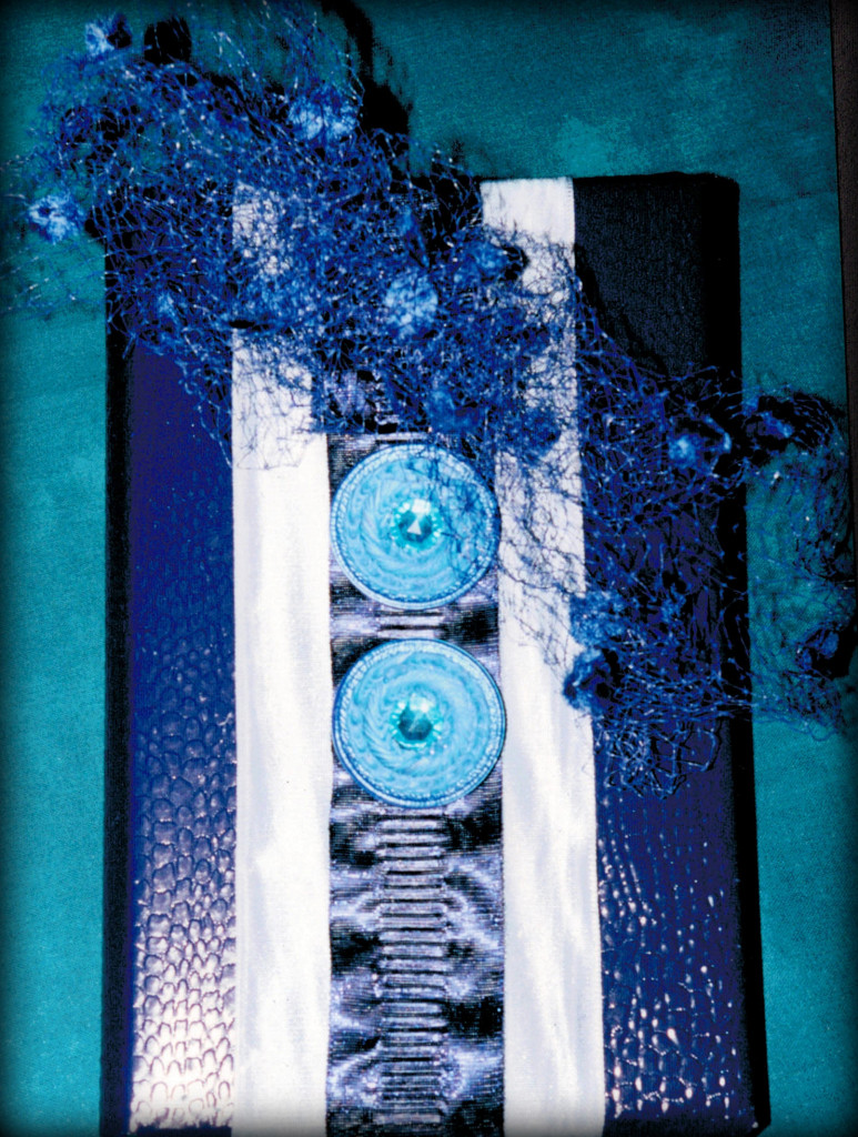 version 2 - shades of blue, diff.ribbons, vintage tulle & buttons