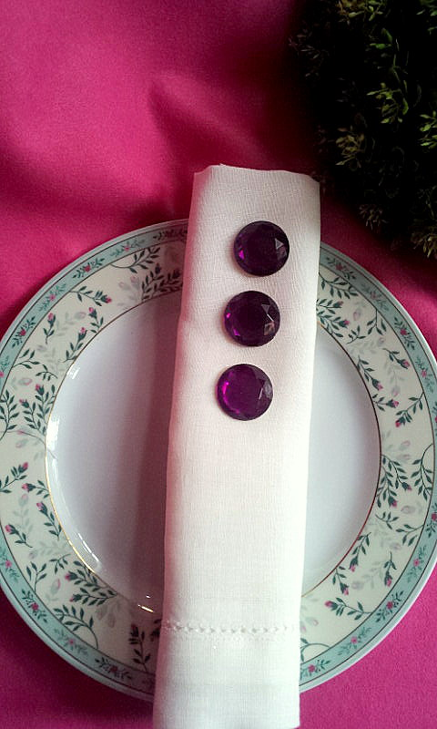 napkin decor purple rhinestones 2