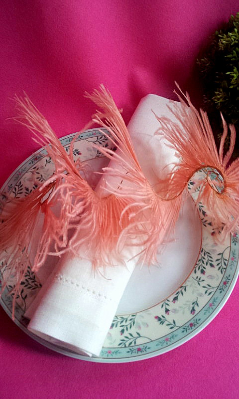 napkin decor vintage feather spiral