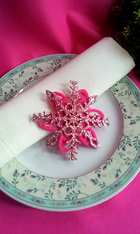 napkin decor pink stars