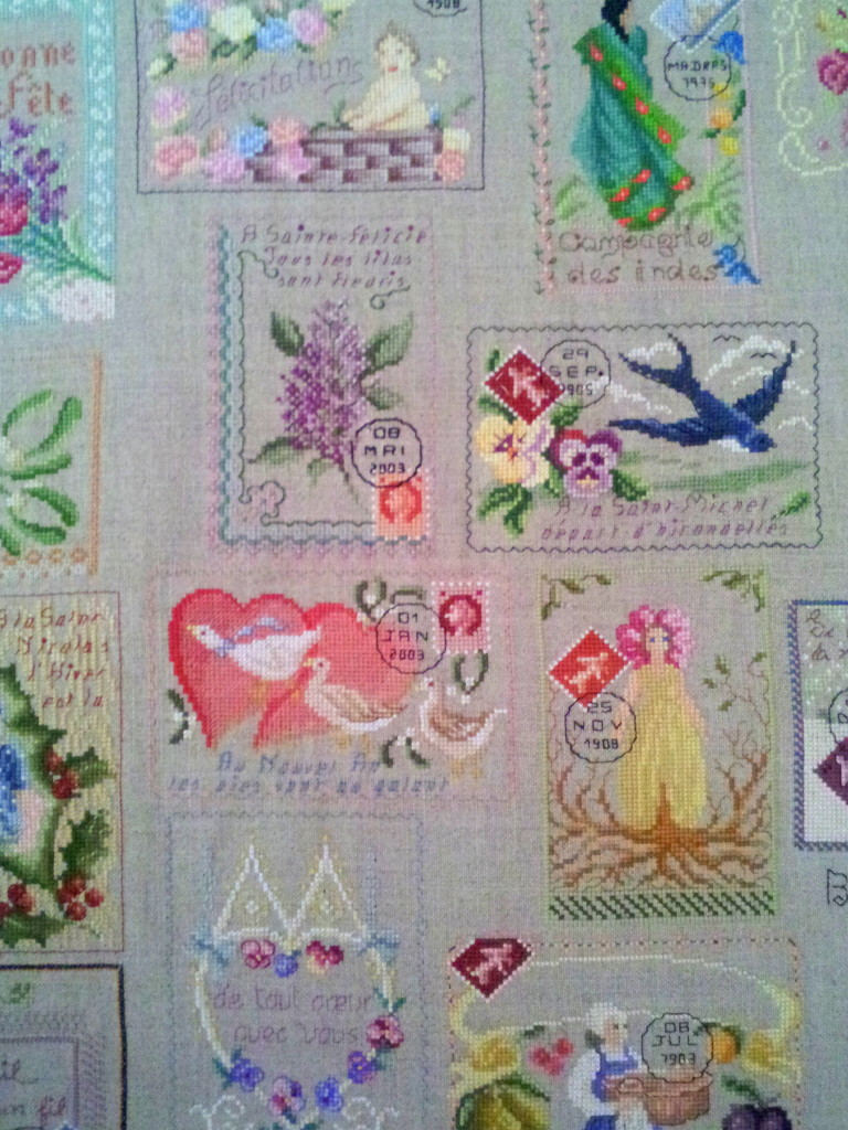 huge Sampler `Antique Postcards´ still in Progress (Detail 2)  PIN BLOG